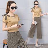 夏季新款韓版修身顯瘦休閒七分褲 短袖T恤兩件套女時尚套裝潮 完美情人精品館