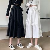 長裙 高腰半身裙女2021年春季新款韓版洋氣休閒復古黑色中長款A字裙子
