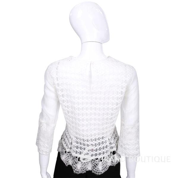 ALBERTA FERRETTI 米白色透膚織花拼接上衣 1540117-20