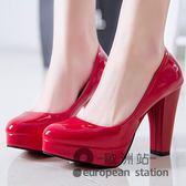 高跟鞋/結婚鞋子女秋單鞋女士婚鞋紅色夏季白色新娘鞋粗跟婚慶紅鞋「歐洲站」