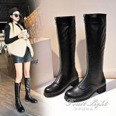 皮靴前拉錬粗跟騎士靴女高筒馬靴平底瘦腿長筒靴 新品促銷