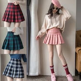 格子百褶裙女夏季高腰短裙大碼a字格裙2020新款春秋防走光半身裙 薇薇