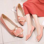 職業鞋低跟鞋 春款平底低跟平跟韓版尖頭女單鞋皮帶扣淺口低筒鞋韓版豆豆鞋 city精品