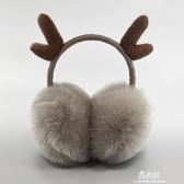 耳罩保暖耳套女冬季保暖耳捂防寒耳罩可伸縮可愛耳套聖誕鹿角耳罩 易家樂