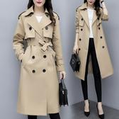 VK精品服飾 韓國風名媛氣質撞色雙排釦修身配腰帶長袖洋裝