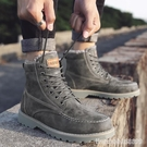 男靴 冬季男鞋加絨保暖棉鞋馬丁靴男士皮靴雪地靴加厚高幫工裝男靴子潮 星河光年