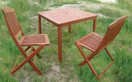 【南洋風休閒傢俱】戶外餐桌椅系列-柚木休閒方桌+柚木休閒椅 摺疊椅 戶外實木餐桌椅(660-1)