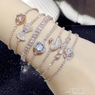 手錬 時尚鋯石水晶抽拉手錬女 韓版簡約個性氣質手環 保色可調節手飾