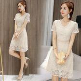 OL洋裝夏季新款韓版修身顯瘦V領超仙女鏤空裙子 JD3475【123休閒館】