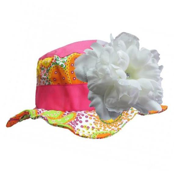 遮陽帽 / 寶寶帽 Jamie Rae 遮陽帽/嬰兒帽 亮橘花紋白牡丹 SH-ORF-WHTLP
