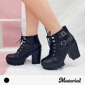 厚底短靴 綁帶帥氣高跟短靴 MA女鞋 T7776
