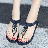 韓版羅馬涼鞋 波西米亞水鑽平底鞋 夾腳大碼鞋《小師妹》sm1926