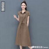 棉麻襯衫洋裝新款夏大碼女裝氣質收腰顯瘦短袖純色亞麻裙子