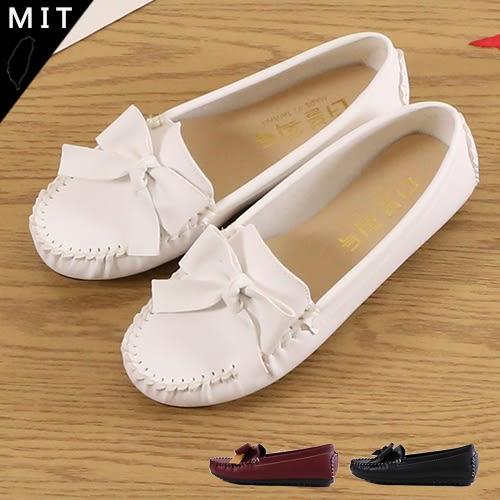 女款 MIT製造 大蝴蝶結+馬克縫線 休閒鞋 平底鞋 豆豆鞋 懶人鞋 59鞋廊