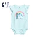 Gap女嬰 Logo棉質圓領包屁衣 580493-淡水藍色