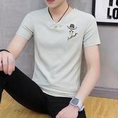 2018新款夏季韓版修身男短袖t恤潮流V領學生百搭衣服男 HH3496【極致男人】