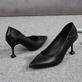 黑色皮鞋女工作鞋職業軟底禮儀鞋中跟面試上班鞋單鞋女尖頭高跟鞋-年終穿搭new Year