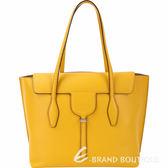 TOD'S New Joy Bag 中款 T釦翻蓋牛皮托特包(黃色) 1840634-66