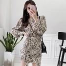 Qmigirl 印花豹紋小個子長袖修身系帶包臀連身裙洋裝【WT1157】