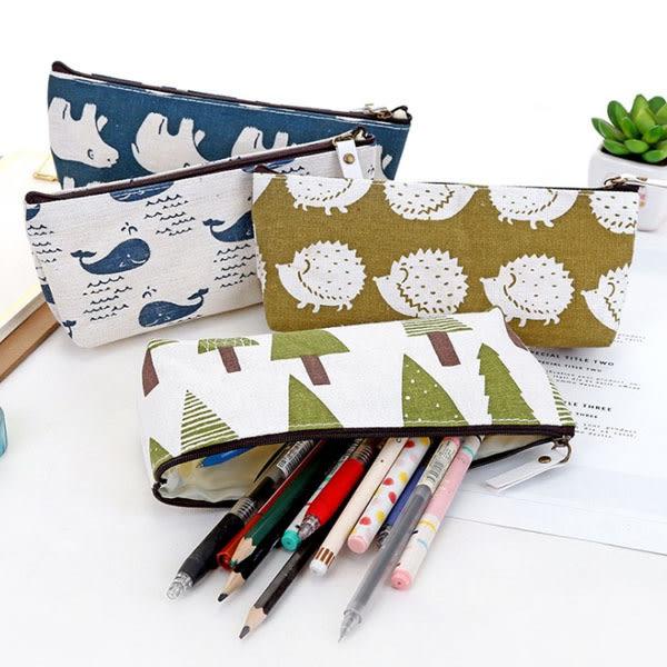 筆袋-可愛棉麻小清新滿版梯形筆袋 筆袋 鉛筆盒 文具收納【AN SHOP】