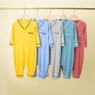 兒童夏季薄款莫代爾長袖中大小童家居服空調連體衣連身衣爬服睡衣 童趣屋 免運