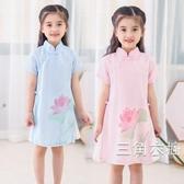 旗袍2019女童洋裝夏季裝新款復古雪紡公主裙中小童中國風短袖旗袍裙子