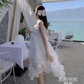 白色洋裝設計感小眾仙女裙chic溫柔小個子沙灘裙氣質吊帶裙女夏連身裙