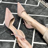 高跟鞋女 法式少女高跟鞋黑色細跟百搭性感中跟春季單鞋女 莎瓦迪卡