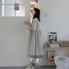 日系連身裙 學院風文藝少女純色夏季短袖女...
