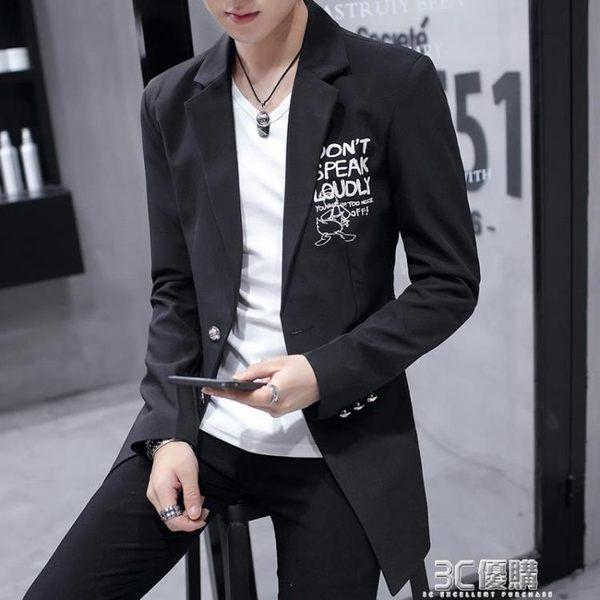 春季新款小西裝男士中長款修身西服外套韓版潮流帥氣印花上衣 3c優購