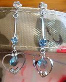 耳環Sabrina C 心心相印藍水晶