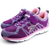 《7+1童鞋》 大童  DIADORA  迪亞多納  魔鬼氈  運動鞋 E281  紫色