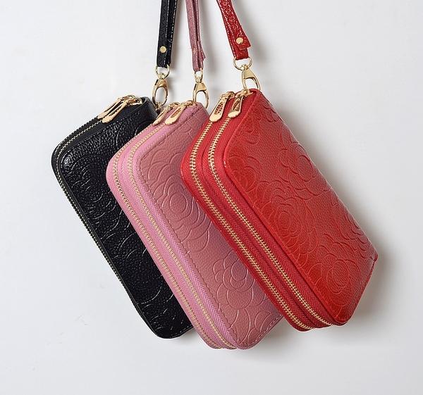 雙拉錬雙層韓版壓花手腕錢包包袋女士長款零錢夾大容量手拿手機包 韓美e站