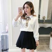 長袖襯衫韓風寬鬆燈芯絨蝴蝶結系帶女襯衣 新主流