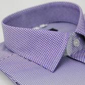 【金‧安德森】紫色變化領方格窄版長袖襯衫