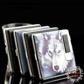 一件85折免運--煙盒打火機超薄16只裝創意翻蓋USB充電打火機點煙器帶煙盒一體