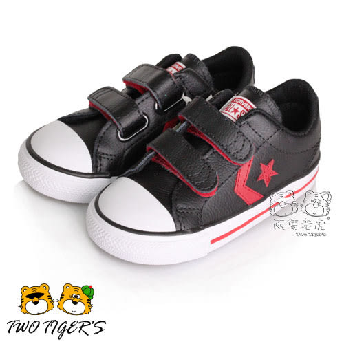 CONVERSE Star Player EV 2V 黑/紅色 皮革魔鬼氈 小童鞋 NO.R2329