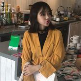 襯衣上衣2018韓版秋裝女裝假兩件領口字母刺繡燈芯絨拼接長袖襯衫