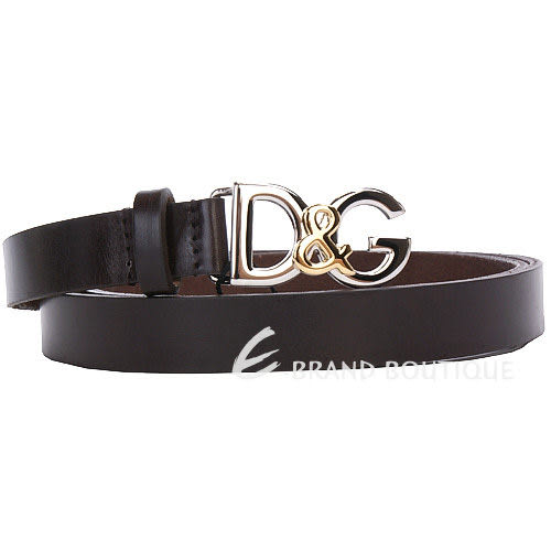 DOLCE & GABBANA 金屬LOGO窄版皮帶(巧克力色) 1230329-C7