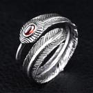 《 QBOX 》FASHION 飾品【R100BR8-303】精緻個性開口鑲鑽羽毛鑄造鈦鋼戒指/戒環(推薦)