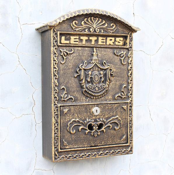 歐式田園家居裝飾鐵藝古銅色壁掛式貴族徽標信報箱/郵箱/信箱