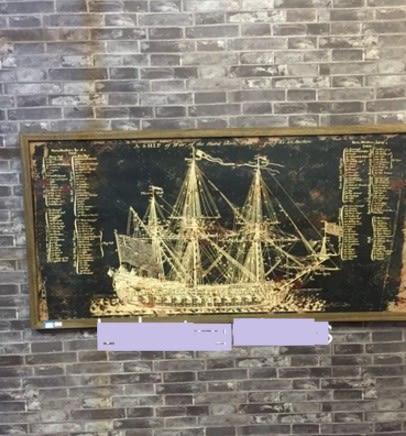 [協貿國際]   大型輪船木板畫咖啡廳牆飾壁飾挂件  (1入)