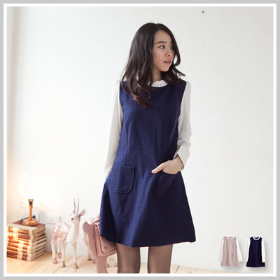 洋裝 韓版鄰家女孩荷葉邊毛尼前口袋洋裝【D2041】☆雙兒網☆ 簡約輕柔