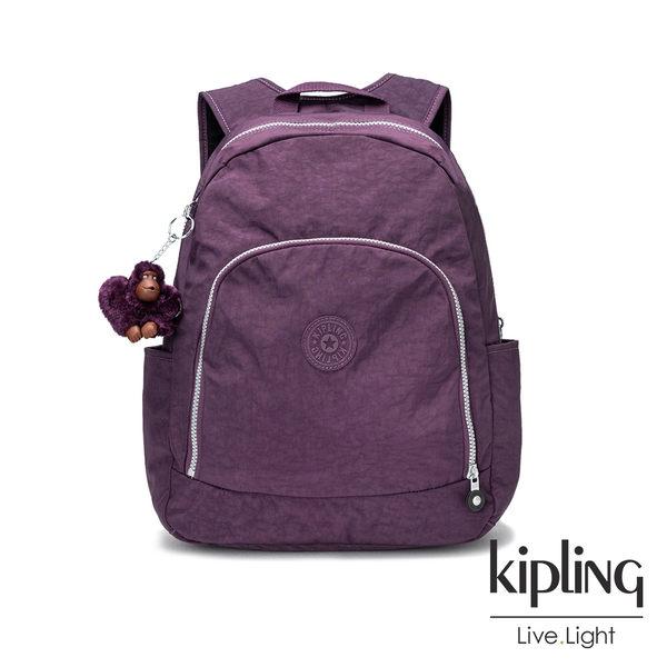 Kipling深紫素面前拉鍊後背包