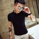 Polo衫夏季短袖T恤男POLO衫潮牌韓版修身半袖t社會精神小伙網紅純棉體恤 新品特惠