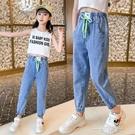 女童夏季牛仔褲2021新款女孩洋氣褲子薄中大兒童裝寬鬆休閒九分褲 一米陽光