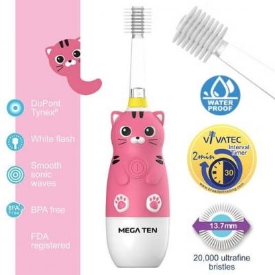 【愛吾兒】日本 Vivatec Mega Ten幼童電動牙刷-貓咪