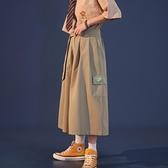 日系休閒褲女2021春裝新款裙褲高腰寬鬆學生七分寬管褲工裝褲子潮 【蜜斯蜜糖】