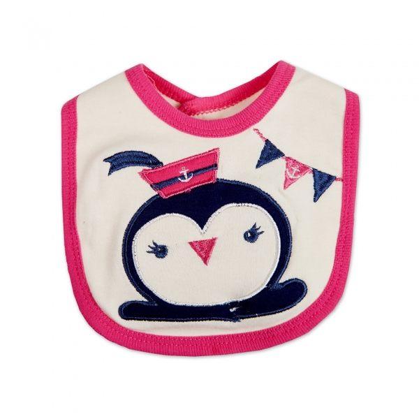 彌月禮 女寶 Luvena Fortuna 短袖包屁衣+長褲 套裝4件組 - 桃藍條紋企鵝 H9832