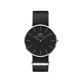 【Daniel Wellington】CLASSIC瑞典時尚品牌經典簡約尼龍腕錶-寂靜黑x銀-40mm/DW00100149/原廠兩年保固